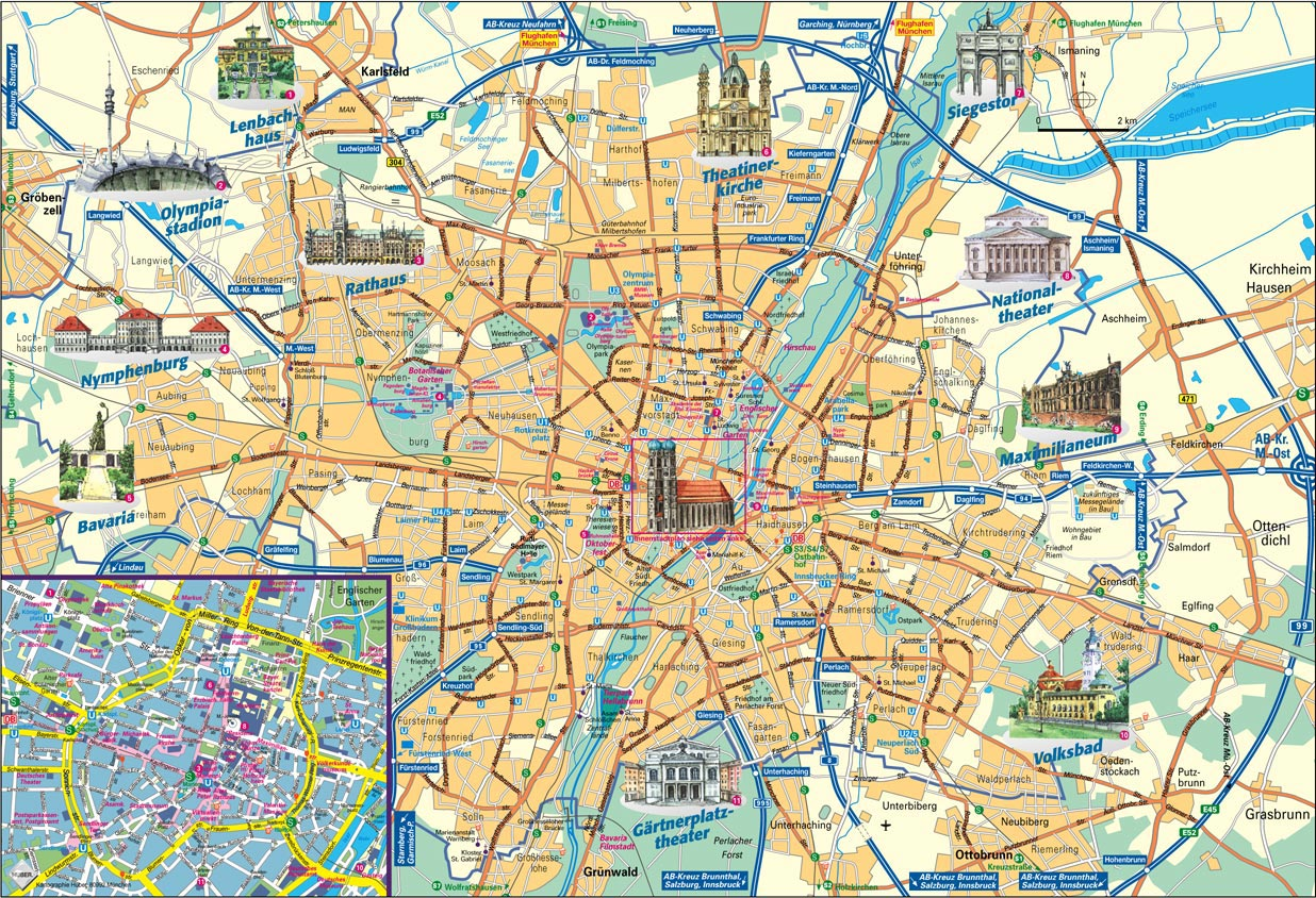 munich landmarks . city maps